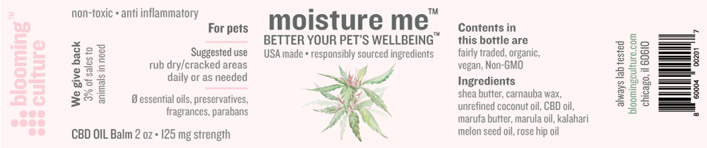 moisture me | Blooming Culture topical balm infused with CBD for dogs