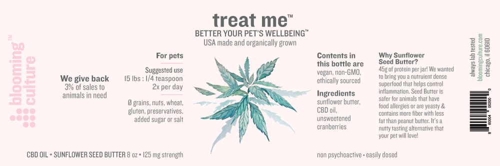 treat me | Blooming Culture CBD treats for dogs made with sunflower seed butter