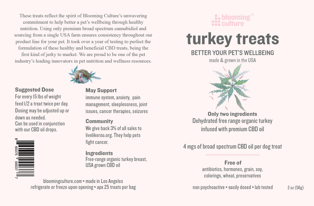 Nutrition label of Blooming Culture organic turkey and CBD dog treats
