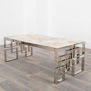 Marble Glass Silver Plated Coffee Table