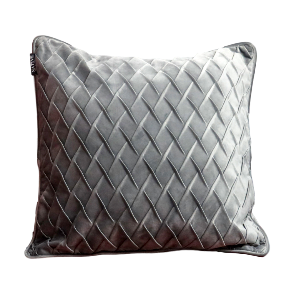 Diamond Pattern Grey Velvet Cushion
