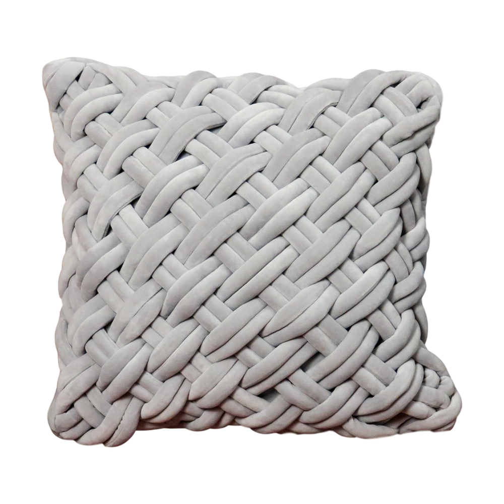 Grey Handknotted Velvet Cushion