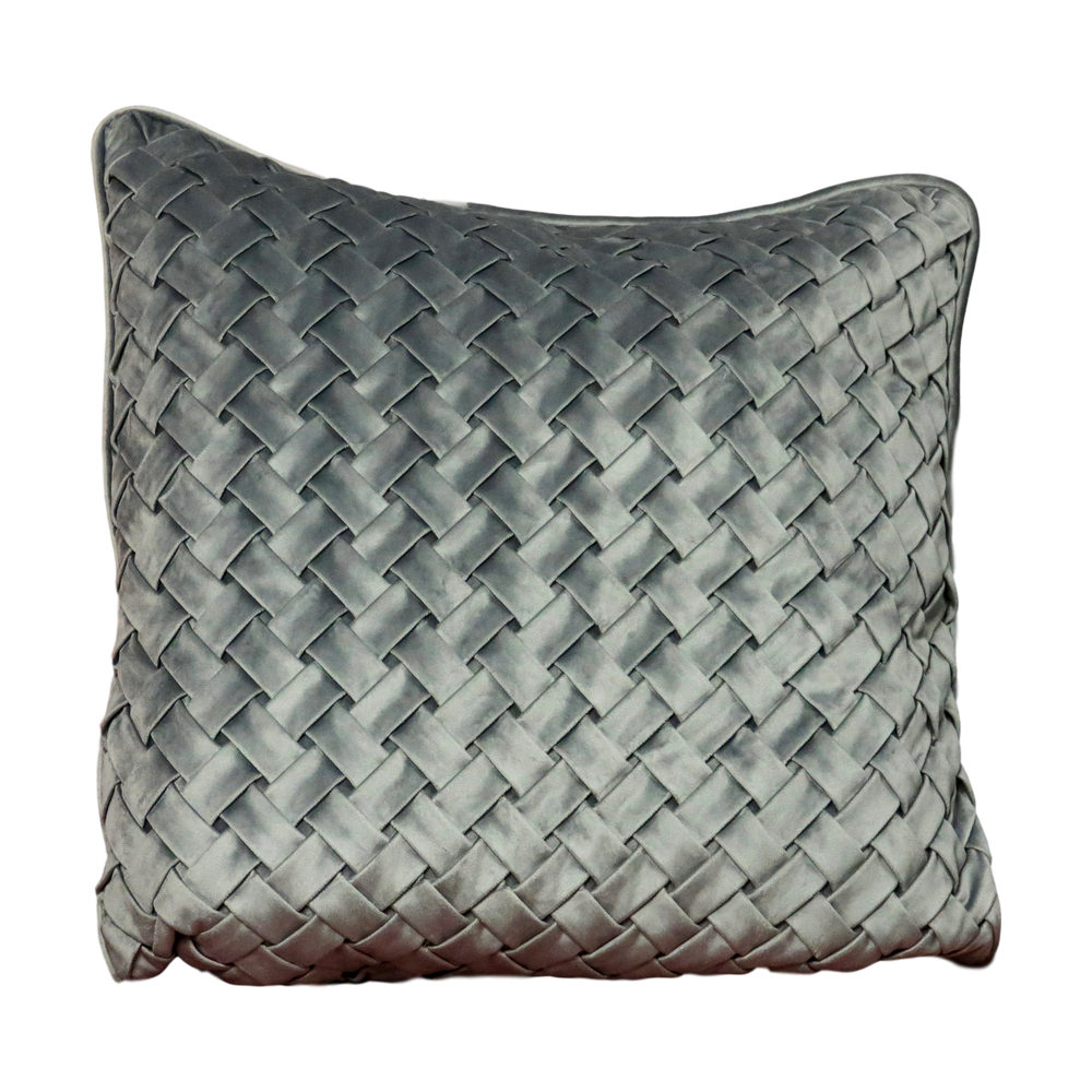 Woven Grey Velvet Cushion