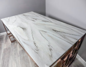 Marble Glass Rose Gold Dining Table