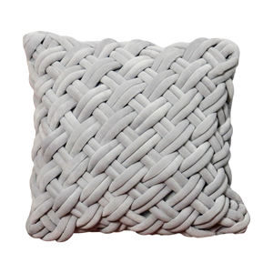 Grey Handknotted Velvet Cushion - Feather Filled