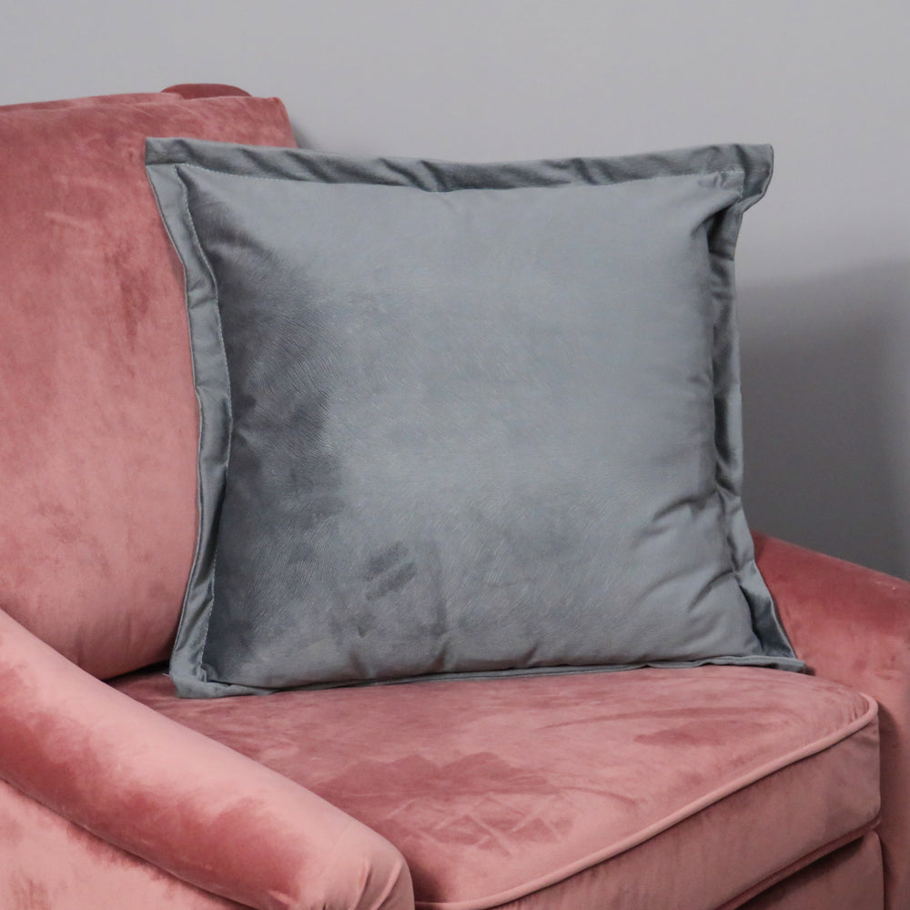 Snakeskin Textured Grey Velvet Cushion - Feather Filled
