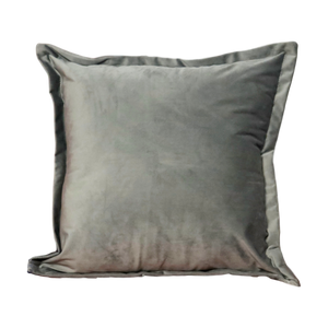 Grey Velvet Cushion - Feather Filled
