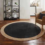 Milano Soft Jute Rug with Charcoal Centre - 200cm Diameter