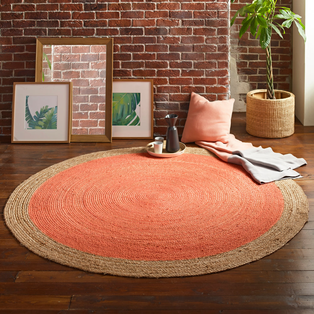 Milano Soft Jute Rug with Blood Orange Centre - 200cm Diameter