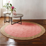 Milano Soft Jute Rug with Pale Pink Centre - 200cm Diameter