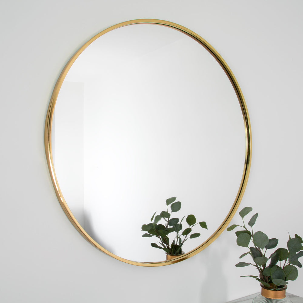 Gold Manhattan Round Mirror - Medium