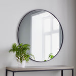 Black Manhattan Round Mirror - Medium