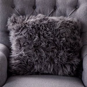 Grey Sheepskin Cushion