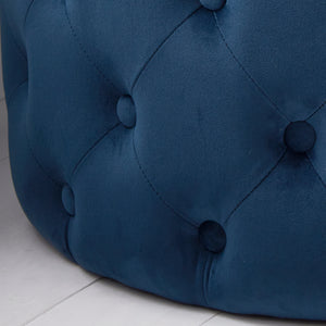 Mystique Blue Tufted Velvet Pouffe