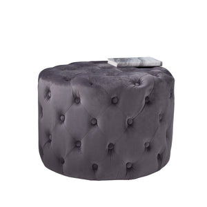 Grey Tufted Velvet Pouffe