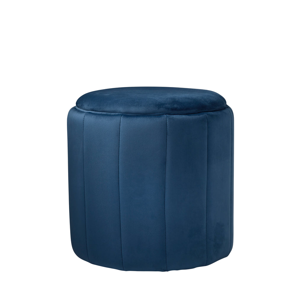 Round Mystique Blue Plush Stool