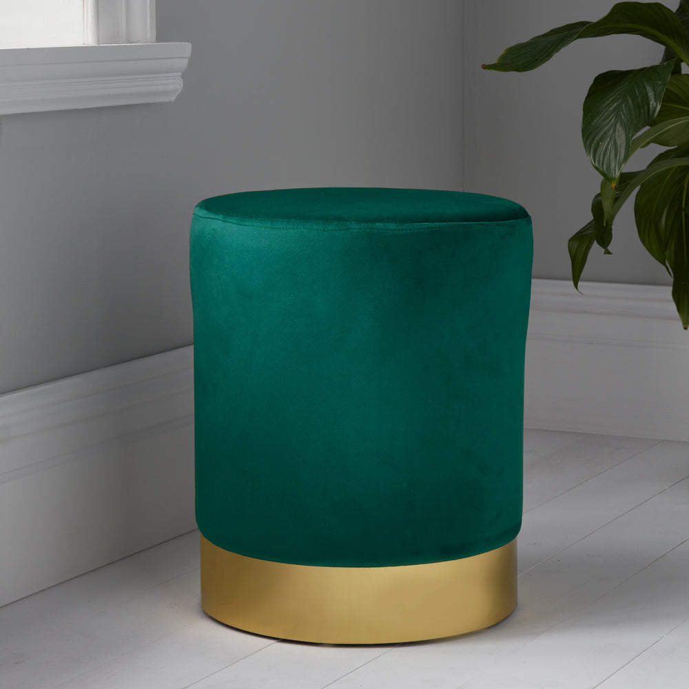 Round Deep Green Velvet Stool - Gold Finish