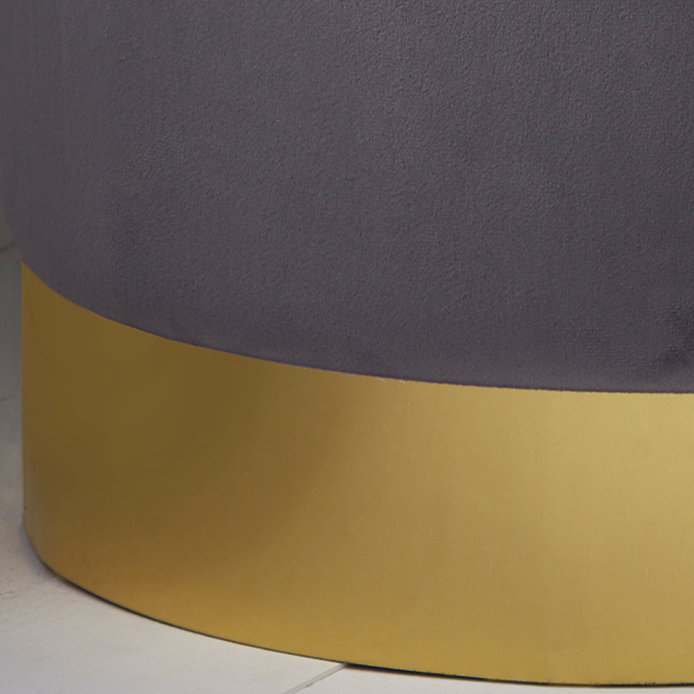Round Grey Velvet Stool - Gold Finish