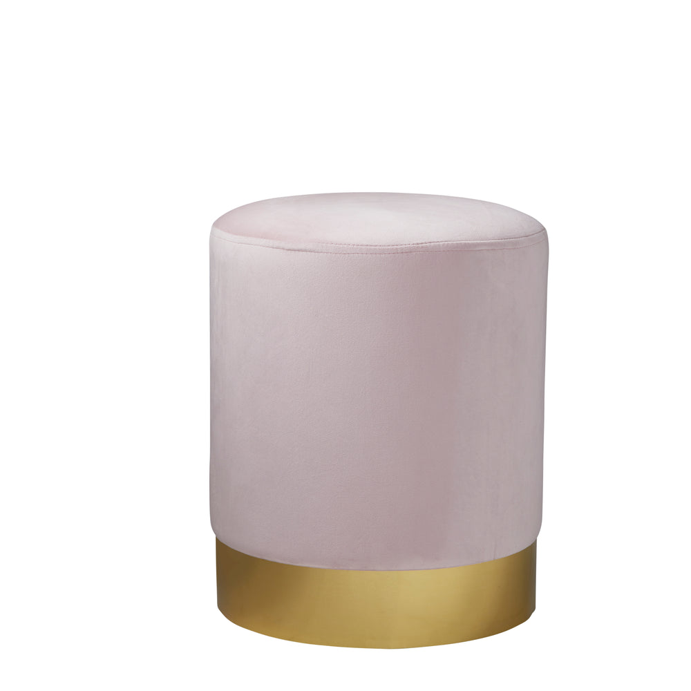 Round Pastel Pink Velvet Stool - Gold Finish