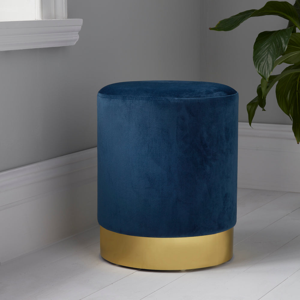 Round Mystique Blue Velvet Stool - Gold Finish