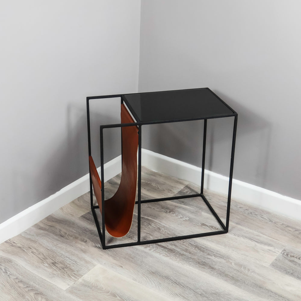 Leather Magazine Holder Side Table