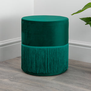 Round Green Tassles Stool