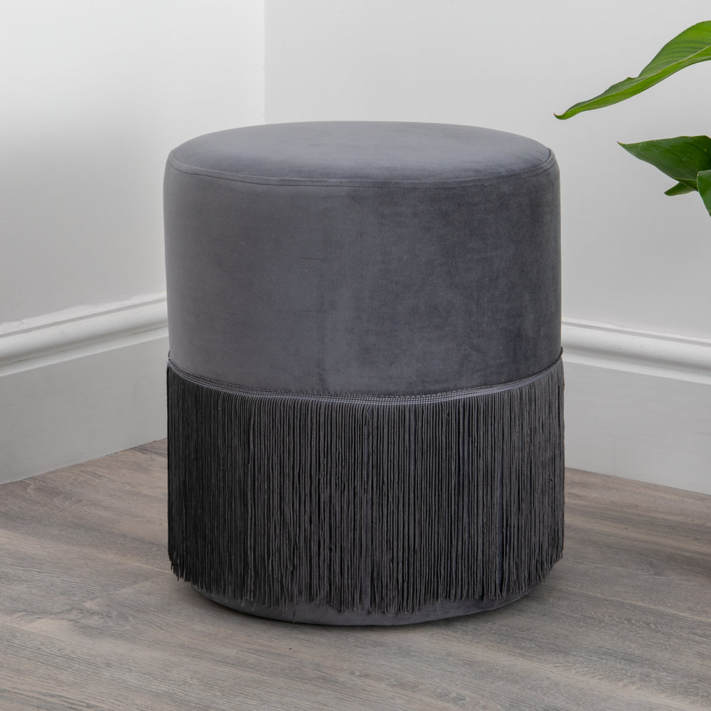 Round Grey Tassles Stool