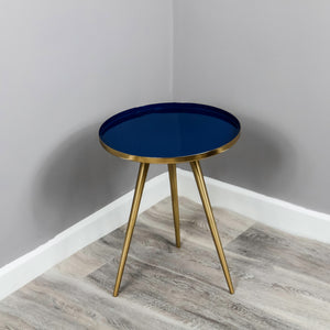 Side Table Blue Enamel Tray