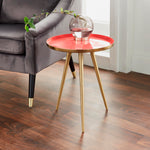 Side Table Coral Enamel Tray