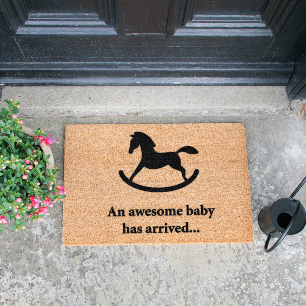 Awesome Baby Has Arrived Rocking Horse Doormat