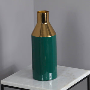 Gold Stem Deep Green Vase