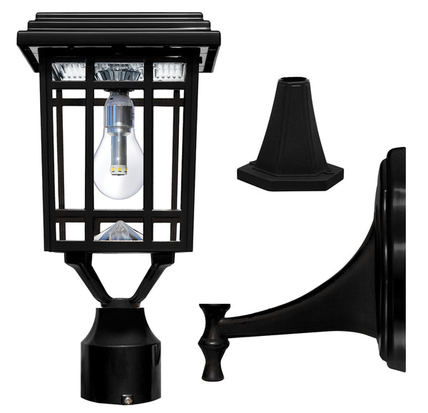 Gama Sonic Prairie Solar Light, GS Light Bulb, with Wall,Post,Fitter Mounts, GS-114B-FPW