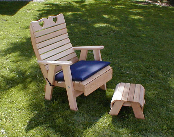 Creekvine Designs Cedar Royal Country Hearts Patio Chair & Footrest Set