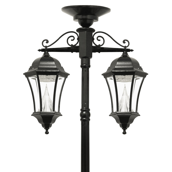 Gama Sonic Victorian Solar Light Post, Double Downward with Center Panel, GS-94C-D