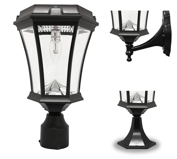 Gama Sonic Victorian Solar Light, GS Solar Light Bulb, with Wall,Post,Fitter Mounts, GS-94B-FPW