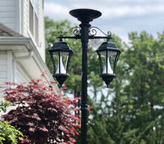 Gama Sonic Victorian Solar Light Post, Double Downward with Center Panel, GS-94BC-D