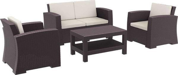 Compamia Monaco Resin Patio Seating Set 4 Piece With Cushion