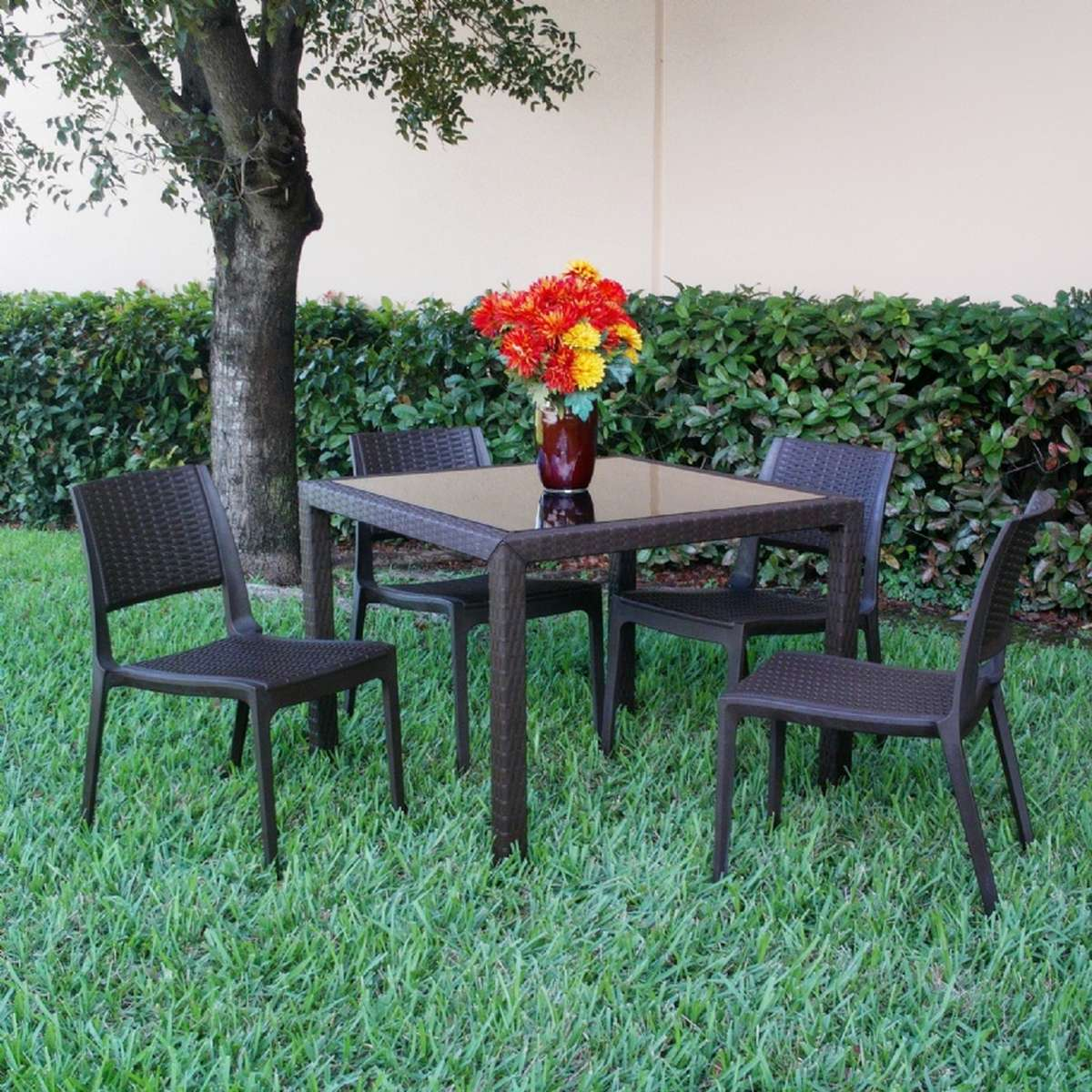 Compamia Miami Wickerlook Square Dining Set 5 Piece with Side Chairs