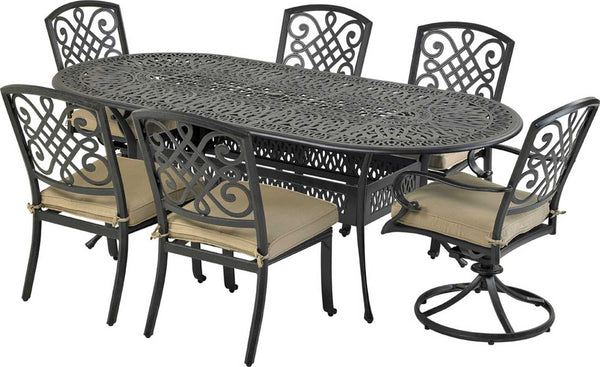 "Patio Resort Lifestyles Bridgetown 7 Piece Dining Set With 28"" Table"