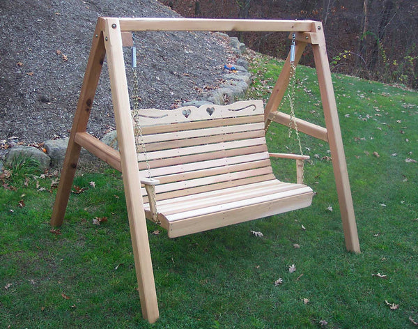 Creekvine Designs Cedar Country Hearts Porch Swing with Stand