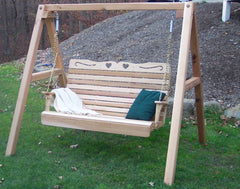 Creekvine Design Cedar Royal Country Hearts Porch Swing With Stand