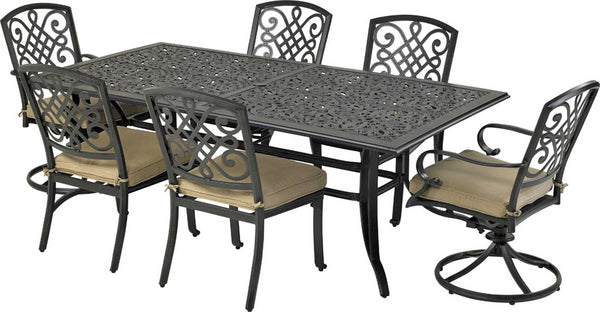 "Patio Resort Lifestyles Bridgetown 7 Piece Dining Set With 84"" Table"