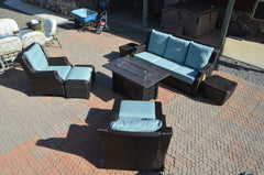 Patio Resort Lifestyles Rome 8 Piece Fire Deep Seating Group