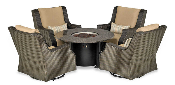 Patio Resort Lifestyles Rome Platinum 5 Piece Fire Chat Set
