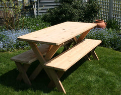 Creekvine Design Red Cedar Backyard Bash Cross Legged Pinic Table with Detached Bench