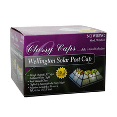 Classy Caps Wellington Stained Glass Solar Post Light