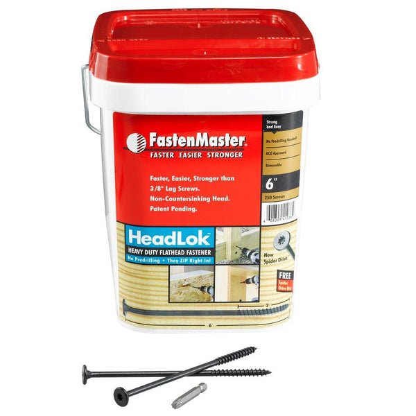 "FastenMaster Headlok 6"" Screws 250 Pieces"