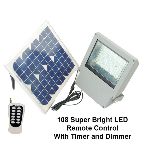 Solar Goes Green Flood Light with Remote and Timer, SMD 108-LED