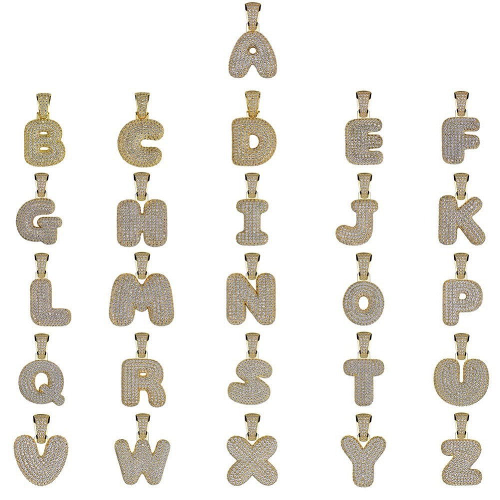 Bling CZ Custom Small Bubble Letters Pendant with Rope Chain Copper A-Z  Initial Pendant Gold Silver 2a996ef1a7ae