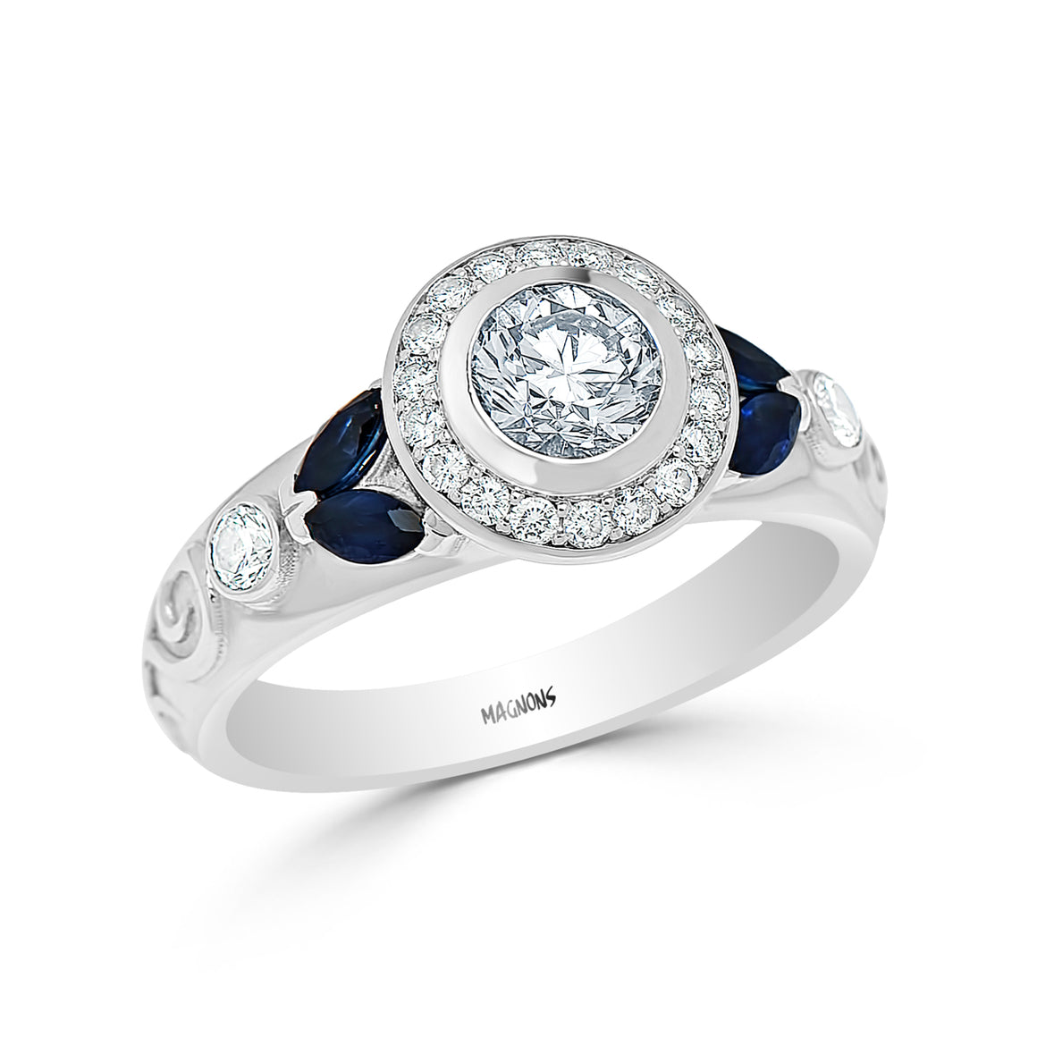 0.75CT Center Diamond halo engagement ring/ Genuine Diamond & Natural Sapphire engagement ring 18k white gold